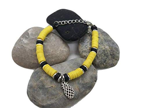 Heishi Costume Jewellery Bracelet with Yellow and Black Pineapple Charms - Stainless Steel - Made in France