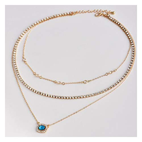 Chargances Bohemia Gold Three Layered Necklace with Blue Gem Pendant Gold Choker Set Multilayer Chain for Women Choker Jewelry for Women and Girls