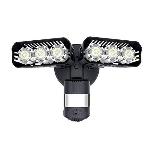 SANSI - Foco LED con detector de movimiento para exteriores, 2700 lm luz de seguridad, 5000 K luz blanca diurna, lámpara LED para exteriores con detector de movimiento, IP65 resistente al agua, negro