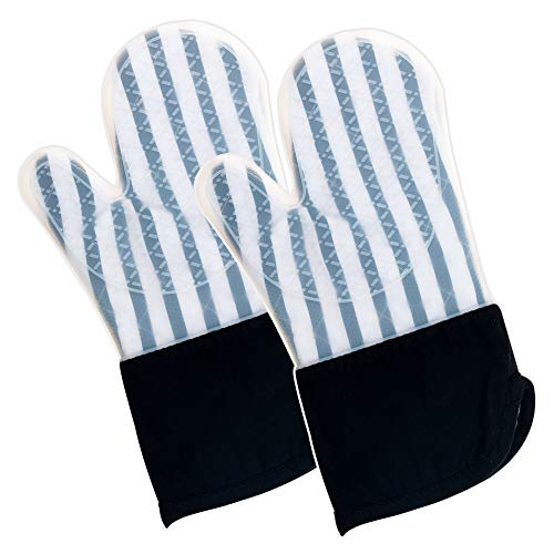 Silicone Oven Mitts Heat Resistant 500 Degrees Safe and Flexible Long Kitchen Mittens Cooking Baking for Women