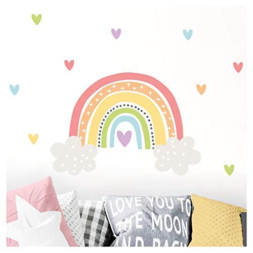 Little Deco Aufkleber Regenbogen mit Herzen I Wandbild 92 x 55 cm (BxH) I Wolken Wandtattoo Mädchen Kinderzimmer Deko Bilder Sticker Wandaufkleber DL506