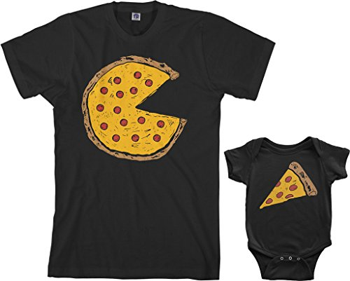Threadrock Pizza Pie & Slice Infant Bodysuit & Men's T-Shirt Matching Set (Baby: 6M, Black|Men's: M, Black)