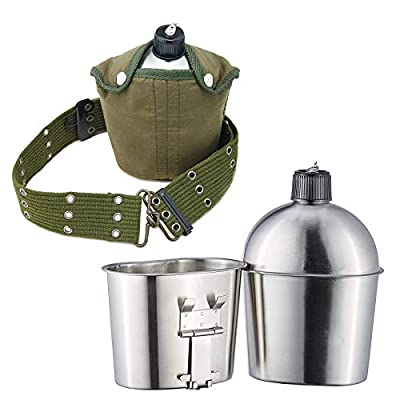 Pinty G.I. Army Stainless Steel Canteen Military with Cup and Green Nylon Cover Waist Belt for Camping Hiking (Cup with foldable handle A)