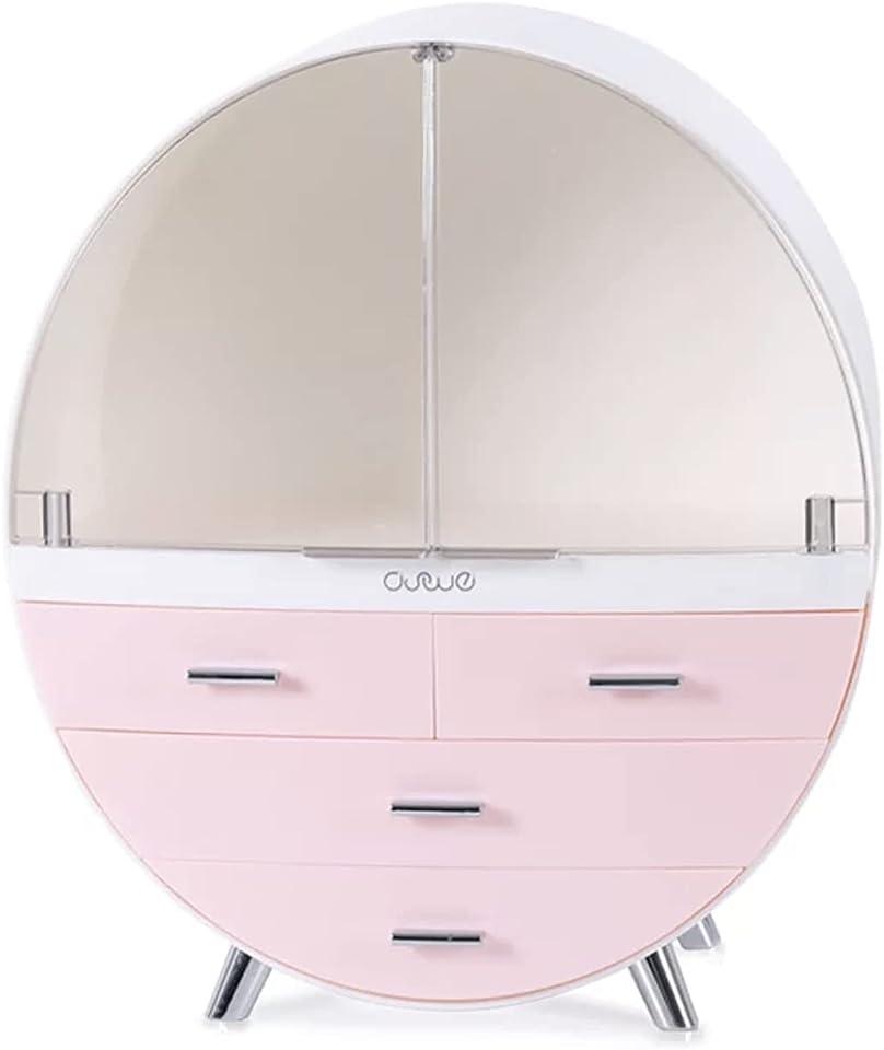 KADY Cosmetics storage box drawer type desktop dust proof dressing table skin care product rack (Large Pink)