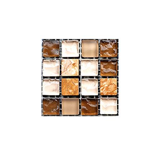 Haus Dekoration Wandaufkleber Selbstklebende Mosaik-Aufkleber-Wand-Ausgang Badezimmer Küche Dekoration 10pcs 3D Fliesenaufkleber Wasserdicht # 1 (Color : MSC044, Size : 10x10cm)