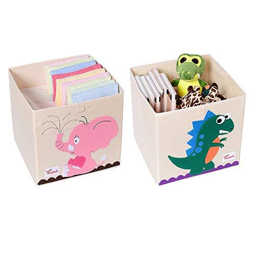 SITAKE 2 PCS Scatola Pieghevole Organizer Giocattoli - Toy Chest Portatutto - Contenitore Giochi Bambini - Scatola Portagiochi Bambini (33 x 33 x 33 cm, Dinosauro e Elefante Rosa)