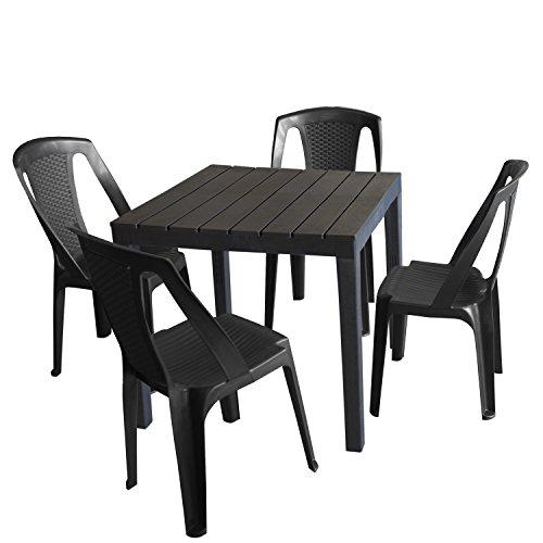 Set Mobili da giardino set tavolo da giardino in plastica, antracite, effetto legno, 78x 78cm + 4X SEDIA IMPILABILE PROCIDA, Plastica Antracite, effetto rattan