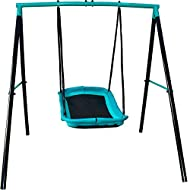 "JUMP POWER Swing Set - 70"" Swing Sets for Backyard, Sturdy Steel Frame for Up to 2 Children Saucer Swing with Frame Toddler Swing with Stand - All Weather"