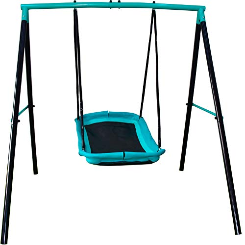Swing Set - 70' Swing Sets for Backyard, Sturdy Steel Frame for Up to 2 Children Saucer Swing with...