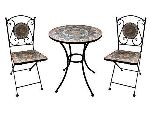 K&L Wall Art ALENIO Garten Balkon Terrasse Bistro Möbel Set 2 Stühle 1 Tisch mit Stein Mosaik Tischplatte robust klappbar Gartenstuhl Sitzecke Balkon Gartentisch Winterfest Gartenmöbel Balkonmöbel