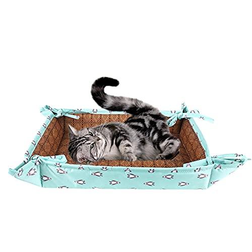 Tengan Alfombrilla para Gatos Sensación Fresca De Verano Nido De Doble Uso con Lazos, Fresco Y Sin Hielo,Cama para Mascotas Fácil De Limpiar Physical