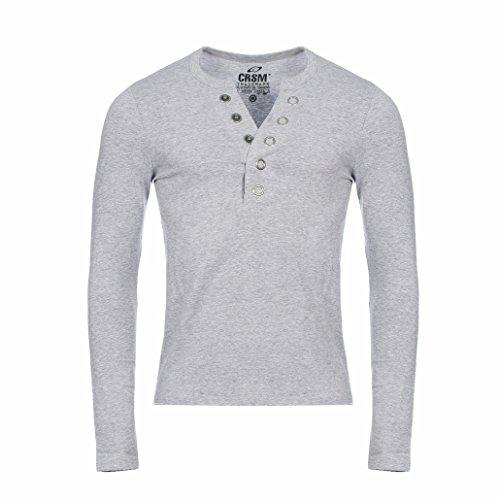 CARISMA Herren Longsleeve T-Shirt Langarm Knopfleiste mit großen Knöpfen Slimfit tiefer V-Ausschnitt Big Buttons, Grösse:XL;Farbe:Grau