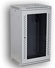 KENUCO [Fully Assembled] Deluxe IT Wall Mount Cabinet | Server Rack | Data Network Enclosure 19-Inch Server Network Rack with Locking Tempered Glass Door (Off-White 18U)
