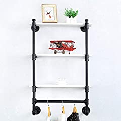Industrial Pipe Clothing Rack Wall Mounted Real Wood Shelf,Pipe Shelving Floating Shelves Wall Shelf,Rustic Retail Garment Rack Display Rack Cloths Rack,SteamPunk Commercial Clothes Racks(3 Tier,24in) #2