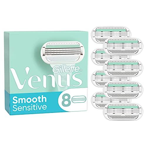 Gillette Venus Smooth Sensitive Rasierklingen Damen (8 Rasierklingen), 3 Klingen für eine glatte Rasur, aktuelle Version