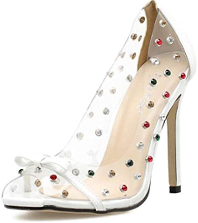 ZHZNVX Women's Synthetics Summer Sandals Stiletto Heel White Black