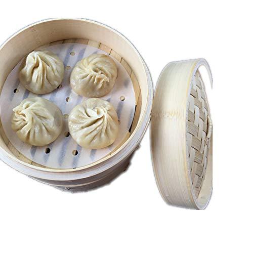 PPX Dim Sum Papel para el Vapor de bambú Antiadherente Bajo la Estera de Vapor de cocción de Papel de Cocina del Restaurante Accesorios (22.9cm)