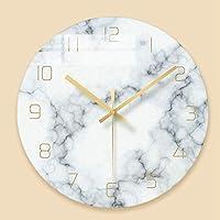 リビングルームのための美しい壁時計、大理石の穀物ガラス壁時計クリエイティブホームリビングルームカフェ壁の装飾
