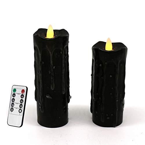 CVHOMEDECO. Velas de pilar de LED con pilas sumergidas a mano de cera real con control remoto, primitivos parpadeantes luces de llamas danzantes, H 15,2 & H 12,7 cm, juego de 2, Negro