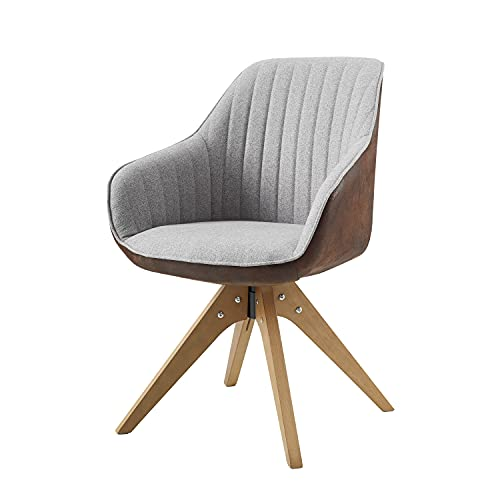 Art Leon Mid-Century Modern Brown Leathaire Back Side and Gray Fabric Upholstered Swivel Accent Chair with Wood Legs Armchair for Home Office Study Living Room Vanity Bedroom