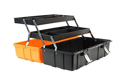 Werkzeugkiste, Werkzeugbox, Werkzeugkasten, Werkzeugkoffer tragbar mit Griff leer 19 Inch