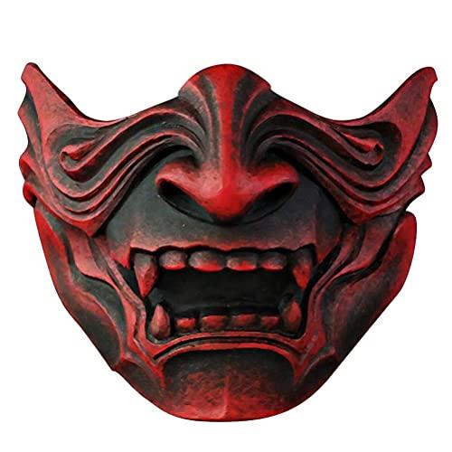 spier Máscara de Halloween - Máscara japonesa de Samurai Prajna, Demon Samurai Media máscara Accesorios de disfraces de cosplay