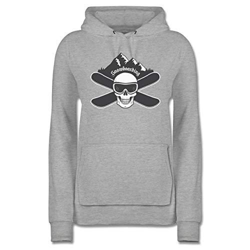 Wintersport - Snowboard Totenkopf - XXL - Grau meliert - Hoodie Damen schwarz Totenkopf - JH001F - Damen Hoodie und Kapuzenpullover für Frauen