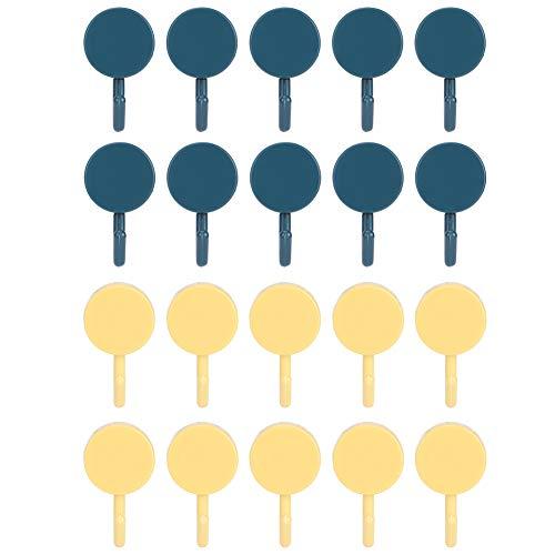 Ganchos autoadhesivos, 20 ganchos adhesivos para pared Ganchos adhesivos para colgar en la pared, ganchos para puerta para el hogar, cocina, baño, sin necesidad de pegamento(Azul oscuro + amarillo)