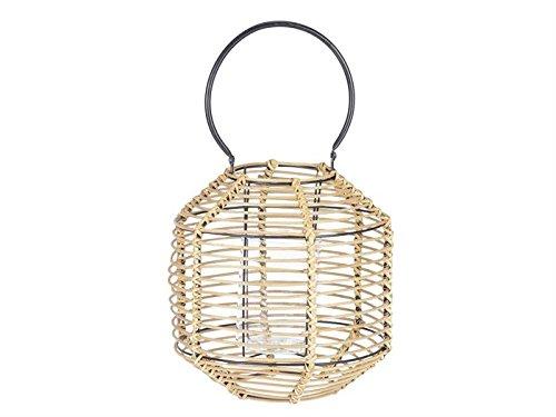 Villa Collection Denmark lantaarn bamboe 30 cm met glazen inzetstuk en handvat