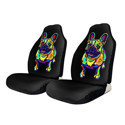 Foruidea Funny French Bulldogs Art Car Seat Covers Universal 2 PCS Auto Front Seat Cover Fit Most Cars,SUV,Sedan,Trucks