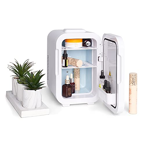 Silky Bae Beauty Fridge - Mini Skincare Refrigerator - With Removable Shelves & Touch Screen Mirror with Light - Small Bedroom Cooler & Storage for Cosmetics, Makeup & Skin Products - 8 Litre Capacity
