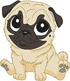 Bambinella® Bügelbild Aufbügler - gedruckte Velour/Flock Applikation zum selbst Aufbügeln - Motiv: Mops Hund - Hergestellt in Deutschland