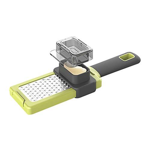 Rallador de ajos de mano y fácil de limpiar, 2 en 1, multifunción, rallador y cortador para queso, chocolate, jengibre, mango suave