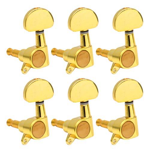 milisten 6 Stks Gitaar Stemsleutels Tuner Stemmechanieken Stemsleutels Pegs Voor Elektrische Gitaar Houten Gitaar Links (Goud)