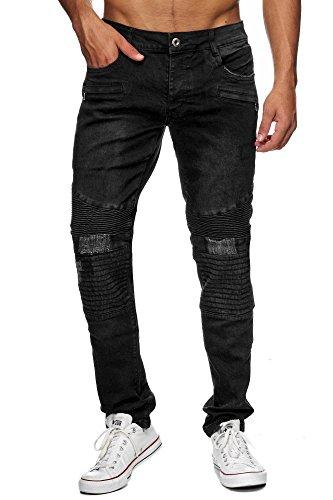 Megastyl Biker-Jeans Herren Hose Stretch-Denim Slim-Fit Distressed, GRÖSSE:W32 / L34