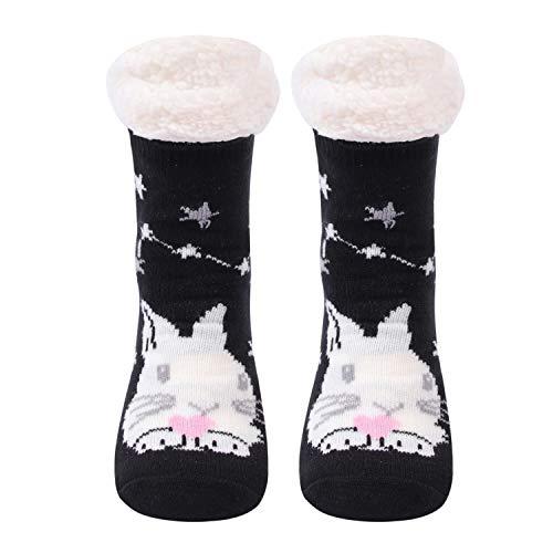 Gather Other Gruesos cachemira lana calcetines de piso, casa abrigados calcetines de mujeres, antideslizantes tejidos calcetines de alfombra (Conejo)