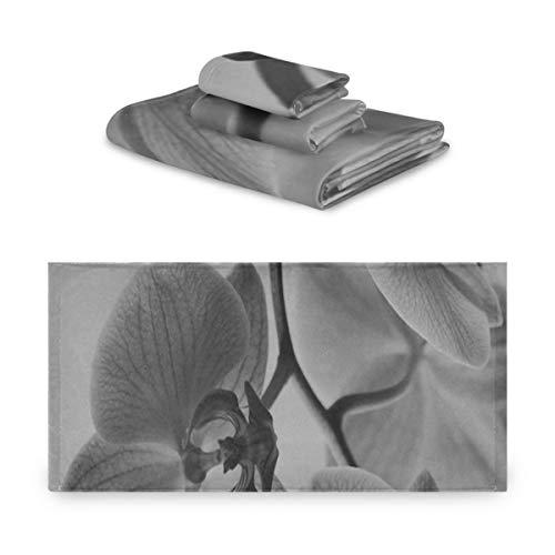 Juegos de toallas de baño para adultos Flores Orchis Violet Blooming Orchid Nature Set Toallas de baño extremadamente absorbentes, hermosas Juego de toallas de 3 piezas 1 toalla de baño, 1 toalla de