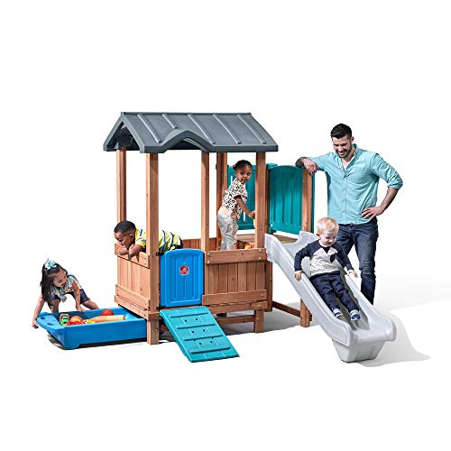 Step2 Woodland Adventure Playhouse & Slide | Kids Wooden Playset with Slide