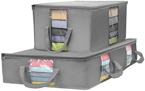 Sorbus Foldable Storage Bag Organizer Set, Large Clear Window & Carry Handles, Great for Clothes, Blankets, Closets, Bedrooms, and More (Gray)