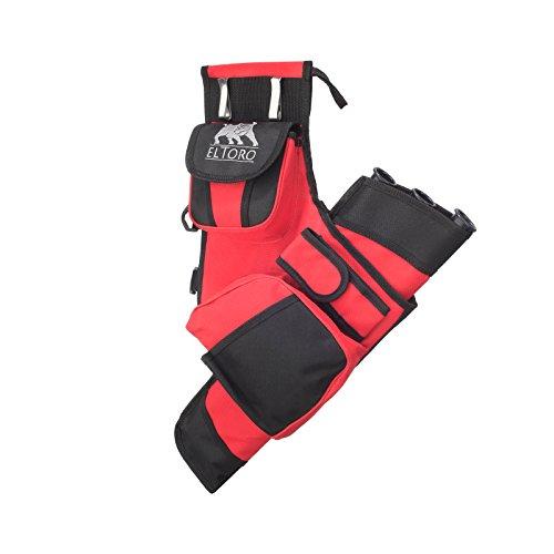elToro Seitenköcher Sys - RH und LH (rot, Rechtshand); Zubehör zum Bogenschießen, Bogensport, Pfeil und Bogen, Köcher am Gürtel zu befestigen