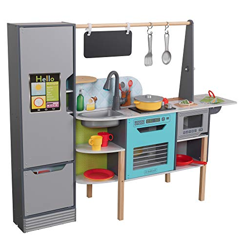 KidKraft Alexa-Enabled 2-in-1 Wooden Kitchen & Market with Lights and Sounds, Interactive Foods and Games Plus 105 Accessories, Gift for Ages 3+, Amazon Exclusive