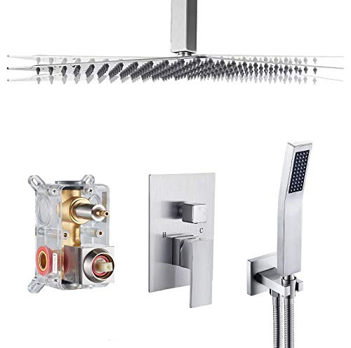 Cobbe Shower System,Shower Faucets Sets Complete,12 inches Rainfall Shower Head with Handheld,Ceiling Mount Shower Faucet Set for Bathroom Rough-in Valve Body and Trim Included