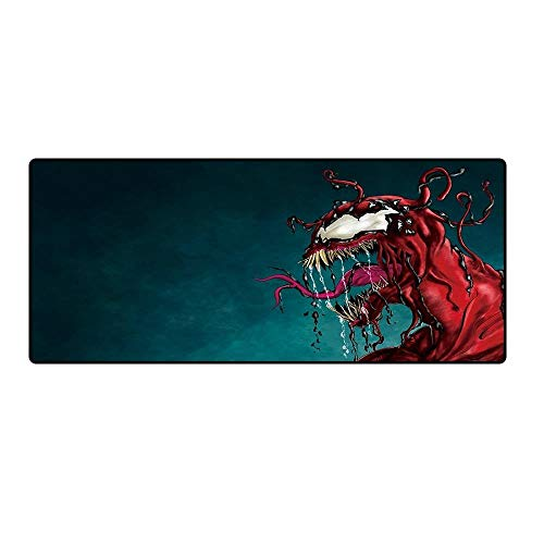 Atvvsovs Large Gaming Mouse Mat Pad 80Cmx30Cmx3Mm Red Cartoon Pattern Thick Extended Mousepad Water-Resistant With Non-Slip Rubber Base Smooth Cloth Surface Anti-Fray Stitched Edges For Pc Keyboard