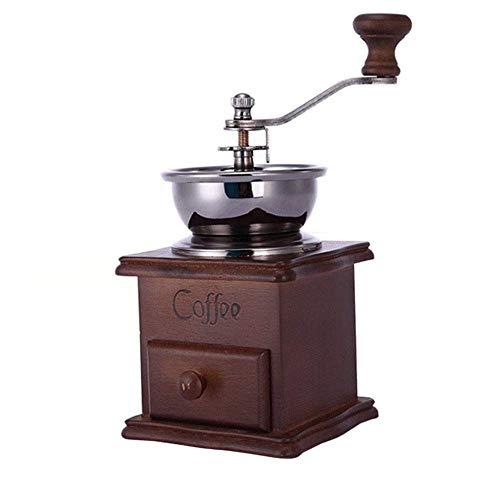 LNDDP Manuelle Kaffeemühle, manuelle Kaffeemaschine Antikes Aussehen Mini Mini-Edelstahl-Kaffeemühle aus Holz