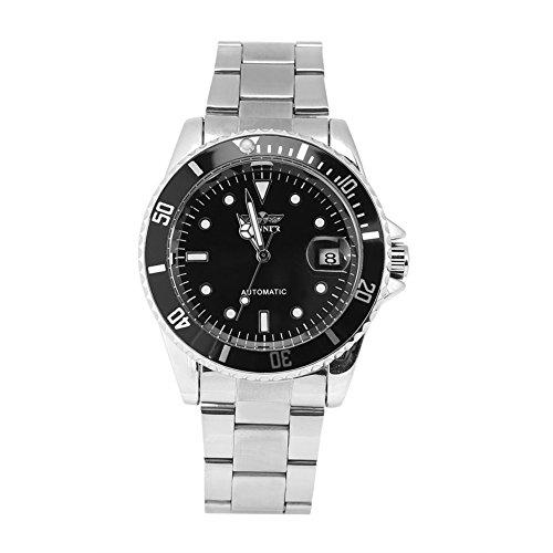 Reloj de pulsera de acero inoxidable del reloj mecánico automático masculino del ganador 3Colors(#1)