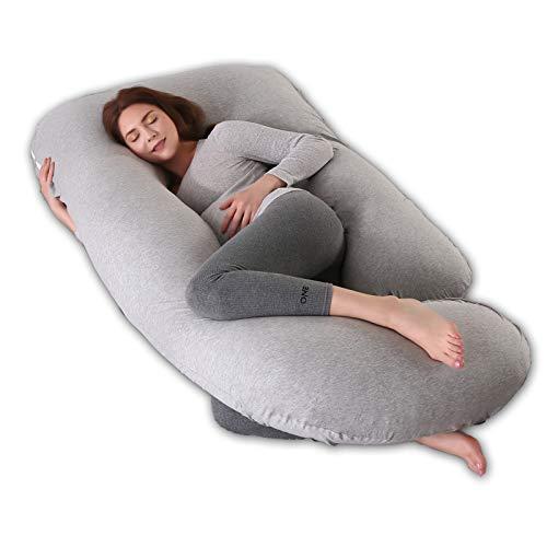 R&P Almohada Embarazada Maternidad Cojin Lactancia Forma de G Almohada de Cuerpo Entero Dormir, Fundas Algodon Desenfundable y Lavable Relleno de Poliester,D