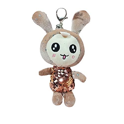 litong Llavero de peluche con lentejuelas de orejas largas de conejo de peluche de peluche de conejo de peluche Boos llavero de 17 cm (color: beige)
