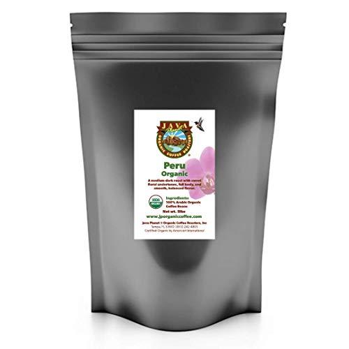 Java Planet, Organic Coffee Beans, Peru Single Origin, Gourmet Medium Dark Roast of Arabica Whole Bean Coffee, Certified Organic, Shade Grown at High Altitudes 5lb bag