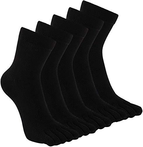 PUTUO Calcetines Dedos Hombres Negro Calcetines de Deportes de Algodón, Hombres Cinco Calcetines del dedo del pie, 39-44, 5 pares