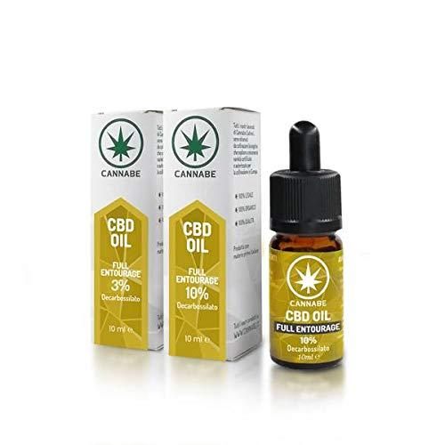CBD-10% Full-Entourage -Oil   Olio Organico Arricchito   Prodotto in Italia   100% Legale e Vegano   Confezione +200 gocce in 10ml - Cannabe